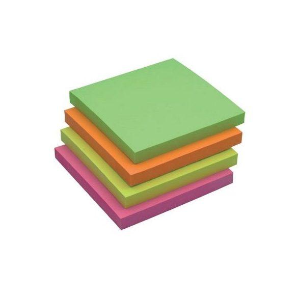 Öntap. jegyzettömb 76x76mm rainbow neon 4x3x80lap Q-Connect KF10508