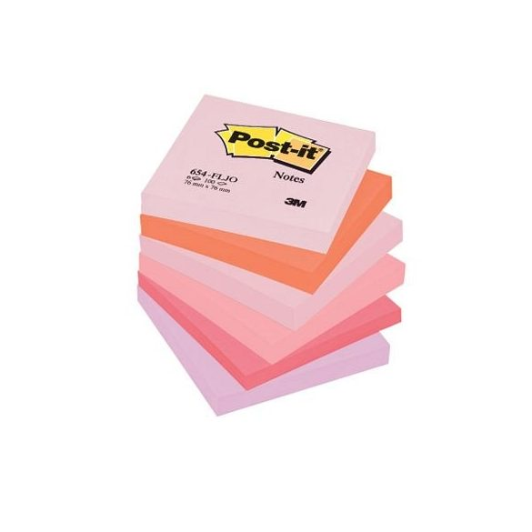 Post-it 654FLJO/654FL 76x76mm 100lap 6tömb p.pink 654RP