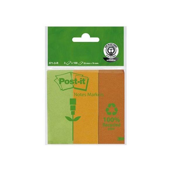 Post-it 671-3-R oldaljelölő 25x76 mm, 3x100 lap