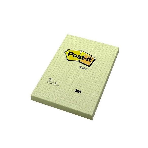 Post-it 662 102×152mm 100 lap négyzethálós kanári sárga