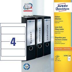 Etikett címke iratrendező L4761-100 fehér 192x61mm Avery