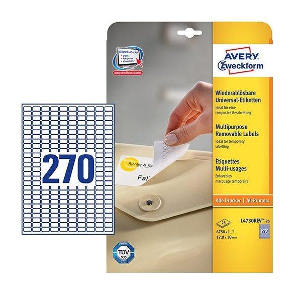 Etikett címke speciális etikett L4730REV-25 visszaszedhető 17,8x10mm Avery