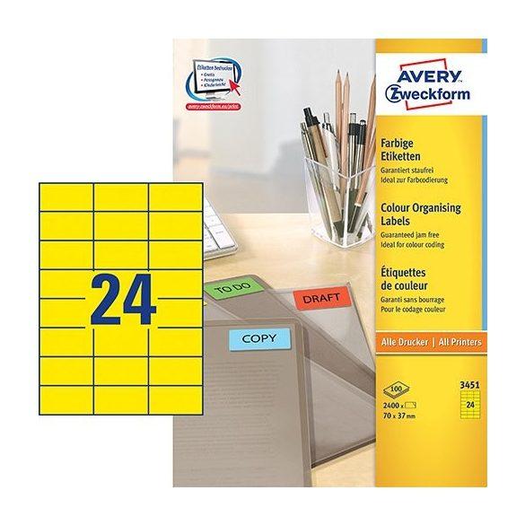 Etikett címke speciális 3450 70x37mm 100ív Avery (sárga)