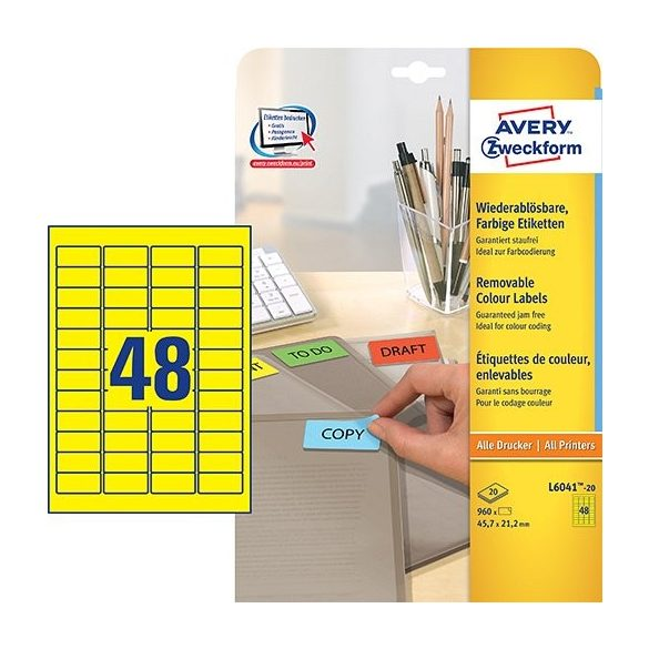 Etikett címke speciális L6041-20 visszaszedhető sárga  45,7x21,2mm 20ív Avery