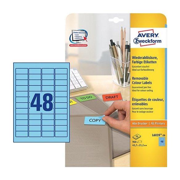 Etikett címke speciális L6039-20 visszaszedhető kék 45,7x21,2mm 20ív Avery