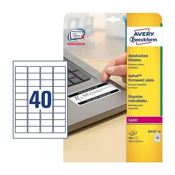 Etikett címke speciális L6145-20 eltávolíthatatlan 45,7x25,4mm 20ív Avery