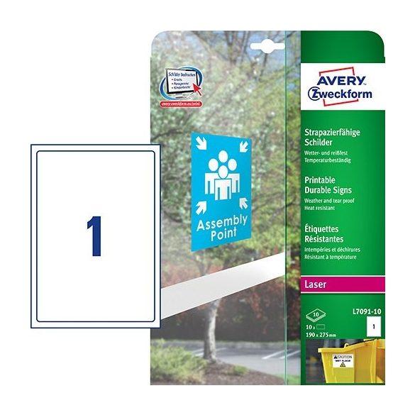 Etikett címke speciális L7091-10 kültéri öntapadó fólia fehér 190x275mm 10 ív Avery