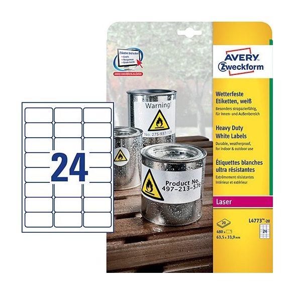 Etikett címke speciális L4773-20 időjárásálló 63,5x33,9mm 20ív polieszter vízálló Avery