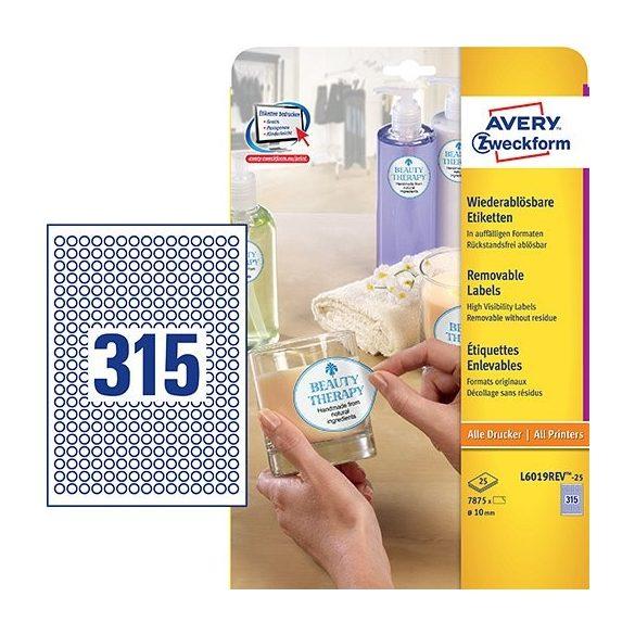 Etikett címke speciális L6019REV-25 visszaszedhető mini kör 10mm 25ív Avery
