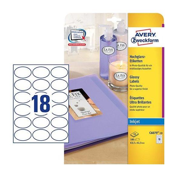 Etikett címke speciális C6079-10 fényes fotóminőségű ovális 63,5x42,3mm 10ív tintasugaras Avery