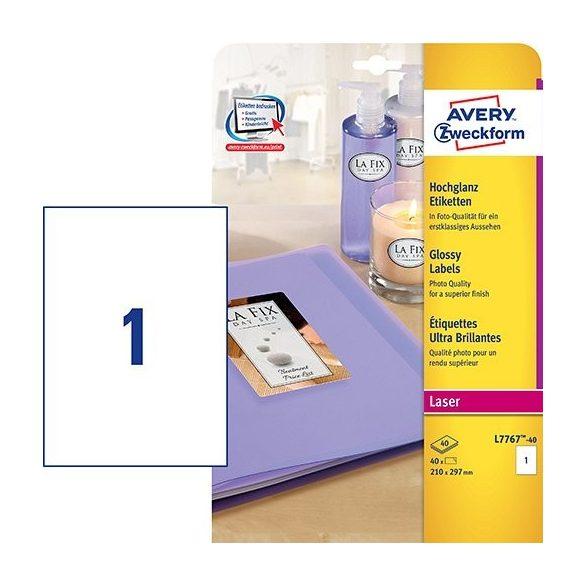 Etikett címke speciális  L7767-40 fényes fotó realisztikus 210x297 40ív színes lézer Avery