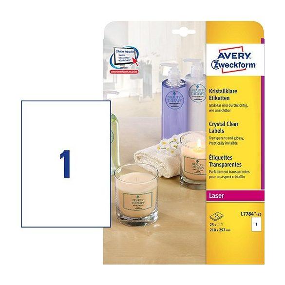 Etikett címke speciális L7784-25 víztiszta átlátszó lézer/színes lézer 210x297mm Avery