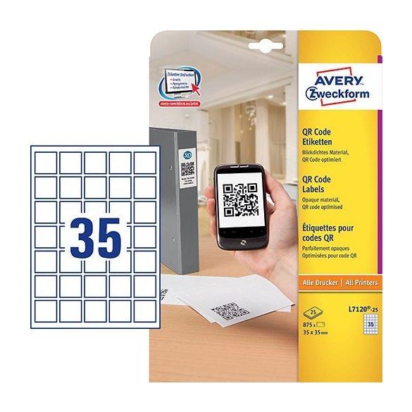 Etikett címke QR kód szögletes L7120-25 35x35mm 25ív Avery