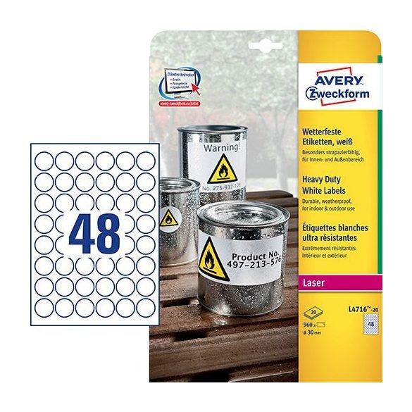 Etikett címke speciális időjárásálló poliészter címke 30mm 20 ív Avery