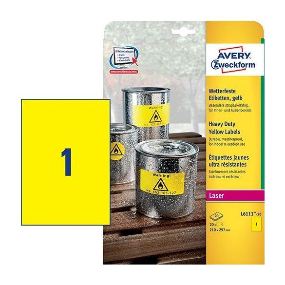 Etikett címke speciális L6111-20 időjárásálló  poliészter címke 210 x 297 mm Avery