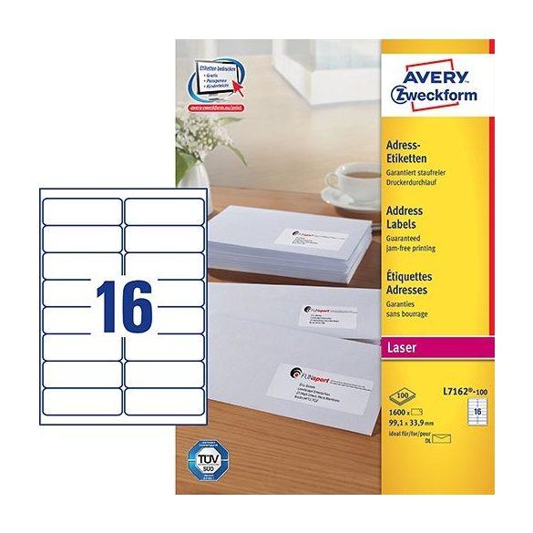 Etikett címke címzés L7162-100 hosszú borítékra QuickPEEL 99,1x33,9mm Avery