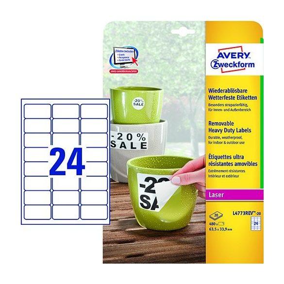 Etikett címke speciális L4773REV-20 visszaszedh. időjárásálló fehér PE címke 63,5 x 33,9mm Avery