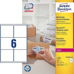 Etikett címke címzés L7166-100 csomagra kerekített sarkok QuickPEEL 99,1x93,1mm Avery