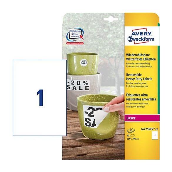 Etikett címke speciális L4775REV-20 visszaszedh. időjárásálló fehér PE címke 210 x 297 mm Avery