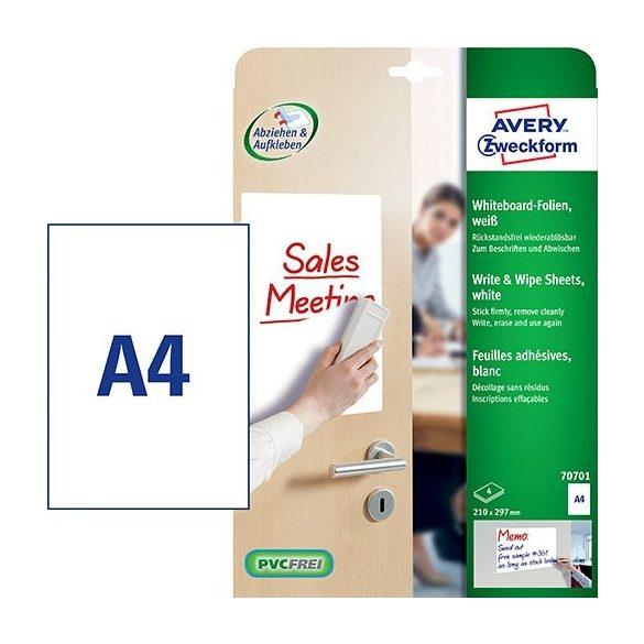 Etikett címke speciális 70701 írható és szárazon törölhető öntapadó fólia A4 Avery