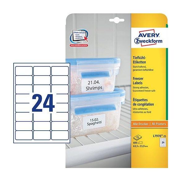 Etikett címke speciális L7970-20 fagyasztó címke  63,5 x 33,9 mm Avery
