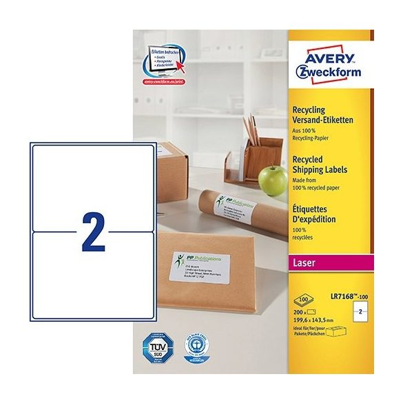 Etikett címke címzés újrahasznosított  LR7168-100 QuickPEEL 199,6x143,5mm Avery