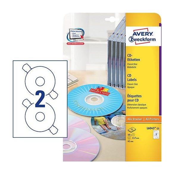 Etikett címke Media L6043-25 CD ClassicSize 117mm Avery