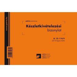Készlet kiv. biz. 25x4lap B.12-114/V Pátria