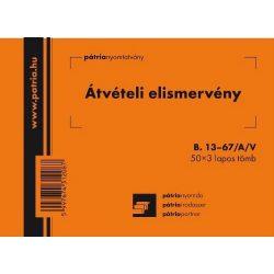 Átvételi elism. 50x3lap B.13-67/A/V Pátria