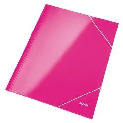 Iratgyűjtő gumis A/4 lakkfényű Leitz rózsaszín