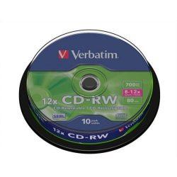 CD-RW Verbatim 700MB 8x-10x újraírható 10db/henger