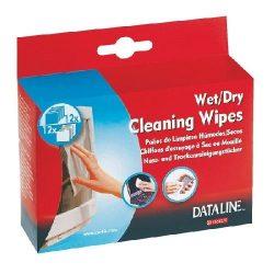Tisztítókendő nedves/száraz tasakos Dataline 67120