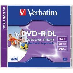 """DVD+R Verbatim 8,5GB 8x kétrétegű nyomtatható, normál tok """"Double Layer"""""""