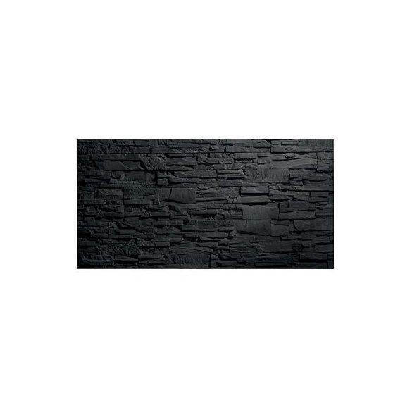 Üvegtábla mágneses 910x460x15 mm beton / pala hatású felület matt fekete