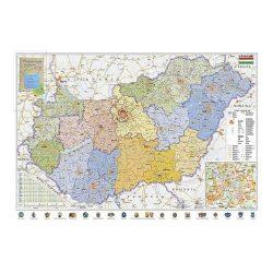 Szúrkatábla 100x70cm Magyarország járásai és közlekedése fakeret