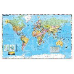 Szúrkatábla 140x100cm A Föld országai zászlókkal fakeret
